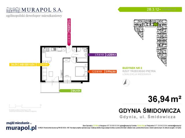 Mieszkanie w inwestycji Murapol Nadmorskie Tarasy, budynek Budynek 2, symbol 2B.3.12 » nportal.pl