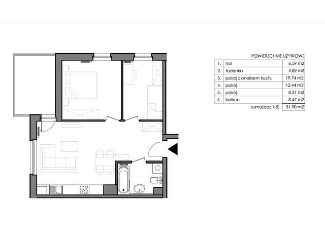 Mieszkanie w inwestycji Signum, budynek Budynek II – Stratus, symbol C.3.5 » nportal.pl