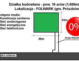 Działka na sprzedaż, Opolski Prószków Folwark, 140 000 zł, 1000 m2, 369930162